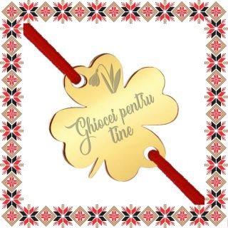 Martisor Bratara Inox Trifoi Auriu Ghiocei pentru tine