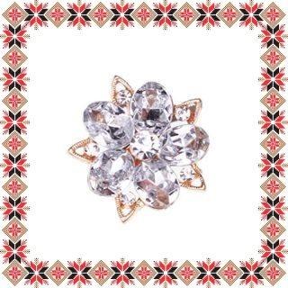 Martisor Brosa Floricica Petale Sticla White Crystal
