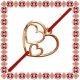 Martisor Bratara Argint 925 Placat Aur Roz 18K Inima cu Inimi