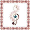 Martisor Brosa Cheia Sol Pietre Cat Eye Bej