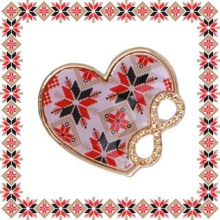 Martisor Brosa Metal Inima Motive Traditionale