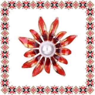 Martisor Brosa Floarea Soarelui Stilizata Rosie