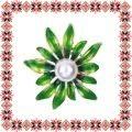 Martisor Brosa Floarea Soarelui Stilizata Verde