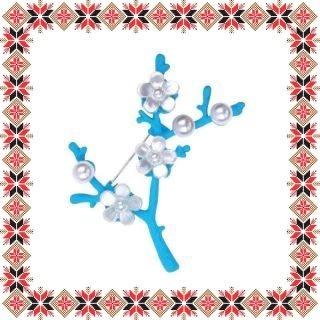 Martisor Brosa Flori de Cires Bleu Mat
