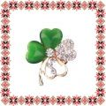Martisor Brosa Trifoi Norocos Cat Eye Verde