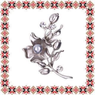 Martisor Brosa Floarea Norocoasa Argintiu Mat
