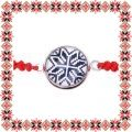 Martisor Bratara Sticla Motive Traditionale Floare Albastra Cerc Snur Rosu