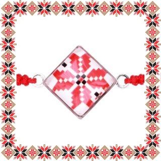Martisor Bratara Sticla Motive Traditionale Romb Snur Rosu