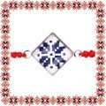 Martisor Bratara Sticla Motive Traditionale Albastre Snur Rosu