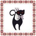 Martisor Brosa Pisica Neagra Eleganta