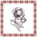 Martisor Brosa Floare cu Petale Argintii Mate