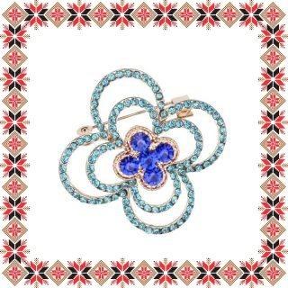 Martisor Brosa Contur Floare Pietre Bleu