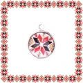 Martisor Pandantiv Motive Traditionale Cerc Floare Rosu Negru Bej