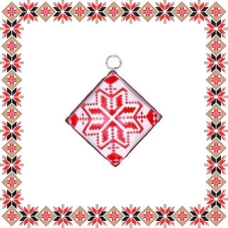 Martisor Pandantiv Motive Traditionale Romb Floare Rosie
