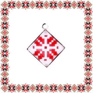 Martisor Pandantiv Motive Traditionale Romb Rosu