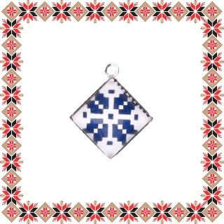 Martisor Pandantiv Motive Traditionale Romb Albastru