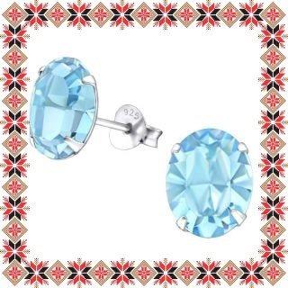 Cercei Martisor Grace Argint 925 Cristale Swarovski Aquamarine