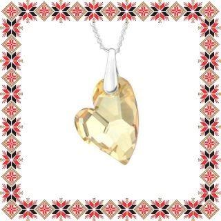Colier Martisor Heartbeat Argint 925 Cristale Swarovski Golden Shadow