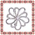 Martisor Brosa Floare Stilizata Argintiu Mat