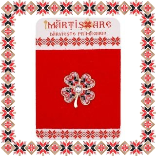 Martisor Brosa Metal Trifoiul Norocos Motive Traditionale