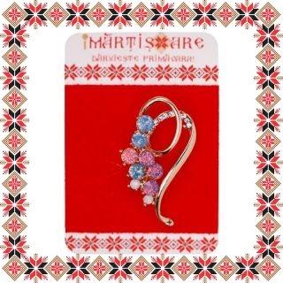 Martisor Brosa Aranjament Floral Pietre Colorate