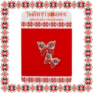 Martisor Brosa Metal Fluturi Motive Traditionale