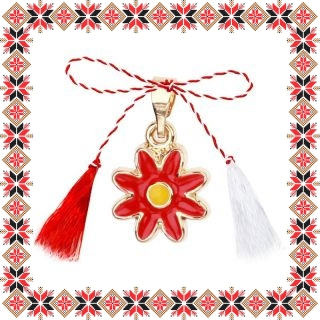 Martisor Pandantiv Floare Rosie