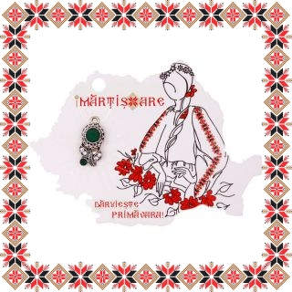 Martisor Pandantiv Floare Margareta Argintiu Tibetan