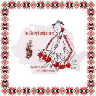 Martisor Pandantiv Vintage Buchet Flori Piatra Rosie
