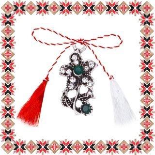 Martisor Pandantiv Vintage Floricica Argintiu Tibetan