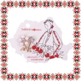 Martisor Brosa Floricele Elegante cu Perlute