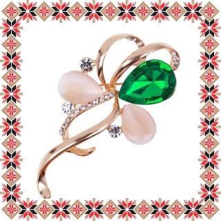 Martisor Brosa Funda Stilizata Piatra Verde