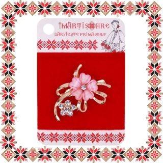 Martisor Brosa Aranjament Floral Pietre Roz