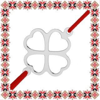 Martisor Bratara Argint 925 Placat Rodiu Alb Contur Trifoi Norocos