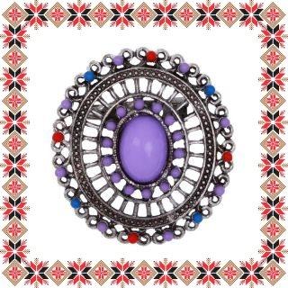 Martisor Brosa Mandala Ovala Mov Argintiu Tibetan